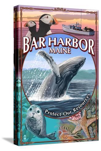 Bar Harbor, Maine - Wildlife Montage-Lantern Press-Stretched Canvas Print