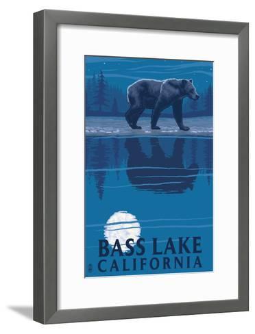 Bass Lake, California - Bear at Night-Lantern Press-Framed Art Print