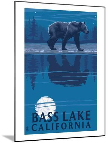 Bass Lake, California - Bear at Night-Lantern Press-Mounted Art Print