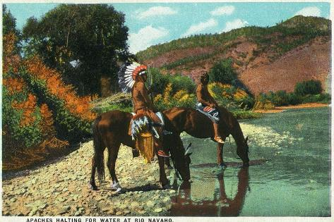 New Mexico - Apache Natives on Horseback Stop for Water at Rio Navajo-Lantern Press-Stretched Canvas Print