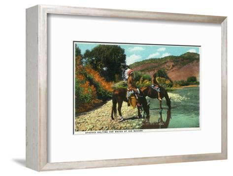 New Mexico - Apache Natives on Horseback Stop for Water at Rio Navajo-Lantern Press-Framed Art Print