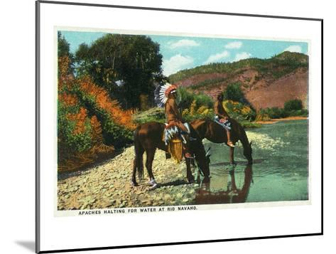New Mexico - Apache Natives on Horseback Stop for Water at Rio Navajo-Lantern Press-Mounted Art Print