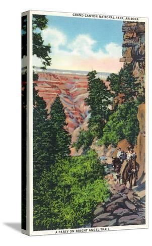 Grand Canyon Nat'l Park, Arizona - Men on Burros on the Bright Angel Trail-Lantern Press-Stretched Canvas Print