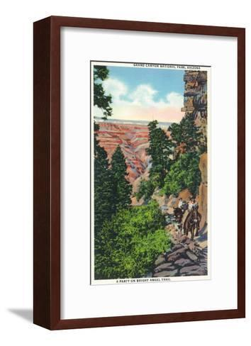 Grand Canyon Nat'l Park, Arizona - Men on Burros on the Bright Angel Trail-Lantern Press-Framed Art Print