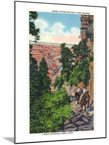 Grand Canyon Nat'l Park, Arizona - Men on Burros on the Bright Angel Trail-Lantern Press-Mounted Art Print