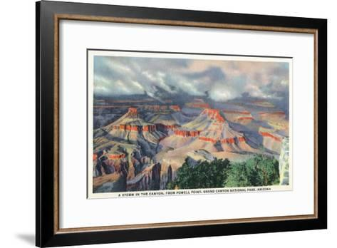 Grand Canyon Nat'l Park, Arizona - Powell Point View of a Canyon Storm-Lantern Press-Framed Art Print