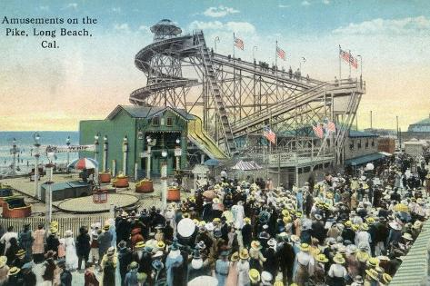 Long Beach, California - View of Amusement Rides Along the Pike-Lantern Press-Stretched Canvas Print