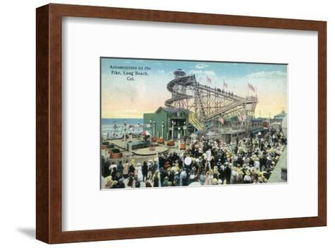 Long Beach, California - View of Amusement Rides Along the Pike-Lantern Press-Framed Art Print