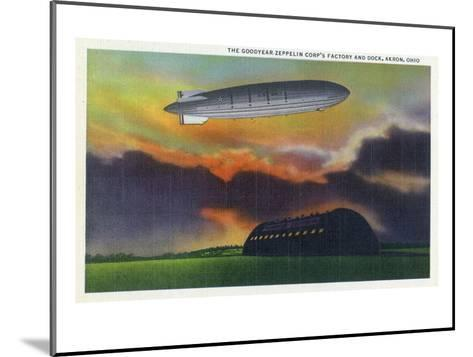 Akron, Ohio - View of the Goodyear-Zeppelin Corp Factory and Dock-Lantern Press-Mounted Art Print