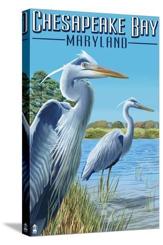 Chesapeake Bay, Maryland - Blue Heron-Lantern Press-Stretched Canvas Print
