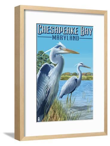 Chesapeake Bay, Maryland - Blue Heron-Lantern Press-Framed Art Print