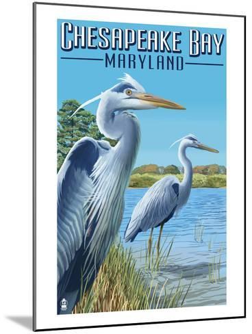 Chesapeake Bay, Maryland - Blue Heron-Lantern Press-Mounted Art Print