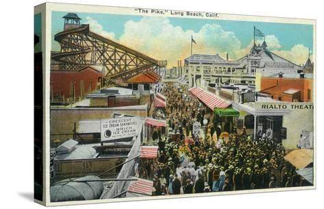 Long Beach, California - Crowds Along the Pike-Lantern Press-Stretched Canvas Print