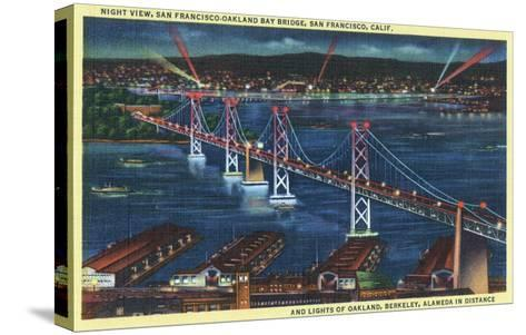 San Francisco, California - Aerial View of Bay Bridge at Night-Lantern Press-Stretched Canvas Print