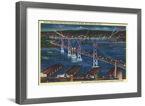 San Francisco, California - Aerial View of Bay Bridge at Night-Lantern Press-Framed Art Print