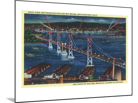 San Francisco, California - Aerial View of Bay Bridge at Night-Lantern Press-Mounted Art Print