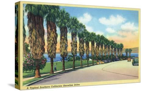 California - Palms Along a Southern Californian Shoreline Drive-Lantern Press-Stretched Canvas Print