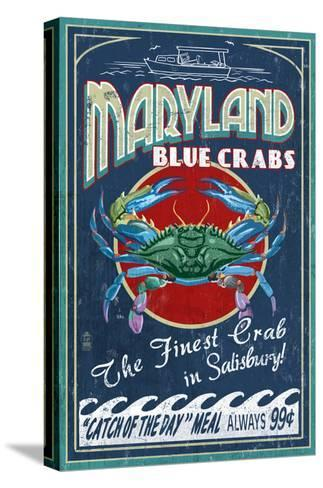 Blue Crabs - Salisbury, Maryland-Lantern Press-Stretched Canvas Print