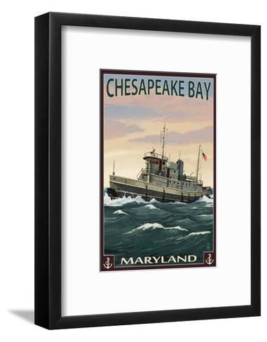 Chesapeake Bay Tugboat Scene-Lantern Press-Framed Art Print