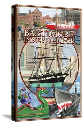 Baltimore Inner Harbor Scenes - Maryland-Lantern Press-Stretched Canvas Print