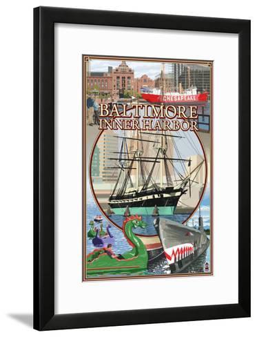 Baltimore Inner Harbor Scenes - Maryland-Lantern Press-Framed Art Print