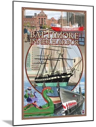Baltimore Inner Harbor Scenes - Maryland-Lantern Press-Mounted Art Print