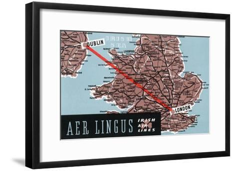 Dublin, Ireland - Aer Lingus Irish Airlines, Map View of Dublin-London Route-Lantern Press-Framed Art Print