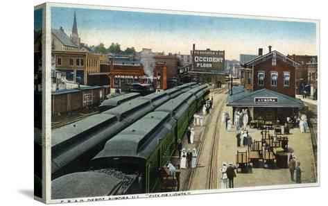 Aurora, Illinois - Chicago, Burlington, and Quincy Railroad Depot-Lantern Press-Stretched Canvas Print