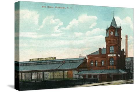 Rochester, New York - Eric Train Depot View-Lantern Press-Stretched Canvas Print
