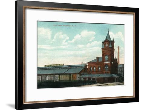 Rochester, New York - Eric Train Depot View-Lantern Press-Framed Art Print