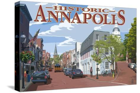 Historic Annapolis, Maryland Street View-Lantern Press-Stretched Canvas Print
