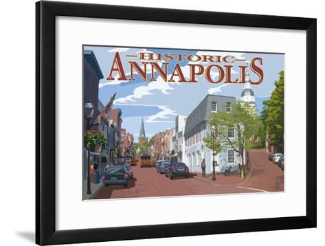 Historic Annapolis, Maryland Street View-Lantern Press-Framed Art Print