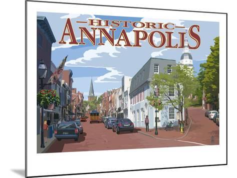 Historic Annapolis, Maryland Street View-Lantern Press-Mounted Art Print