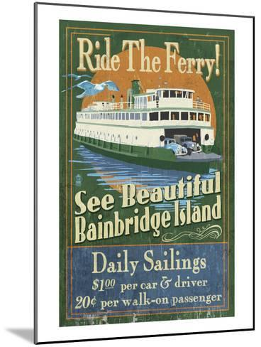 Bainbridge Island, Washington - Ferry Ride-Lantern Press-Mounted Art Print