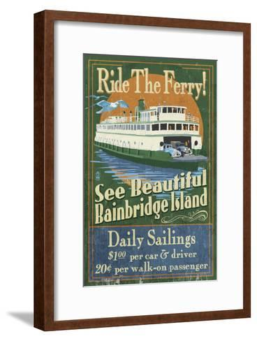 Bainbridge Island, Washington - Ferry Ride-Lantern Press-Framed Art Print