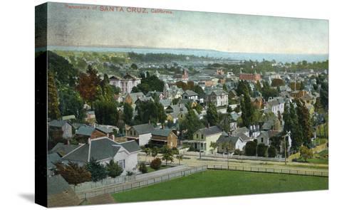 Santa Cruz, California - Panoramic View of Town-Lantern Press-Stretched Canvas Print