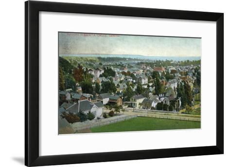 Santa Cruz, California - Panoramic View of Town-Lantern Press-Framed Art Print