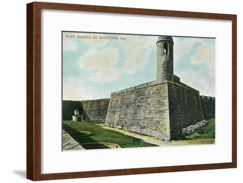 St. Augustine, Florida - Fort Marion Scene-Lantern Press-Framed Art Print