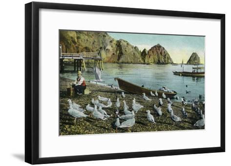 Santa Catalina Island, California - View of Sea Gulls at Avalon-Lantern Press-Framed Art Print