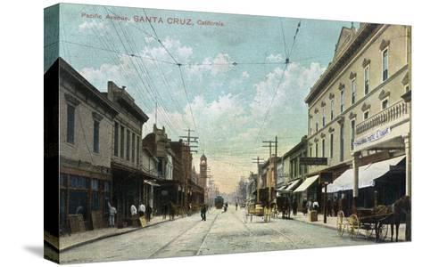 Santa Cruz, California - View Down Pacific Avenue-Lantern Press-Stretched Canvas Print