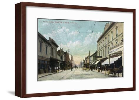 Santa Cruz, California - View Down Pacific Avenue-Lantern Press-Framed Art Print