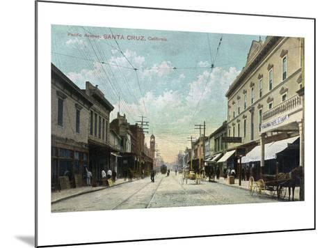 Santa Cruz, California - View Down Pacific Avenue-Lantern Press-Mounted Art Print