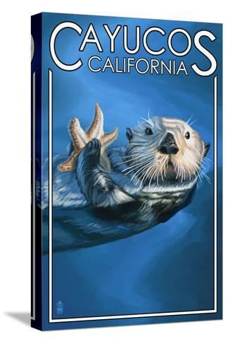 Cayucos, California - Sea Otter-Lantern Press-Stretched Canvas Print
