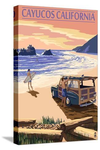 Cayucos, California - Woody on Beach-Lantern Press-Stretched Canvas Print