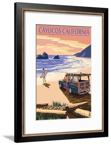 Cayucos, California - Woody on Beach-Lantern Press-Framed Art Print