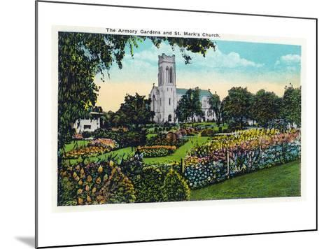 Minneapolis, Minnesota - Exterior View of St. Mark's Church from the Armory Gardens-Lantern Press-Mounted Art Print
