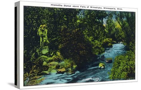 Minneapolis, Minnesota - View of the Hiawatha Statue Above Falls of Minnehaha-Lantern Press-Stretched Canvas Print