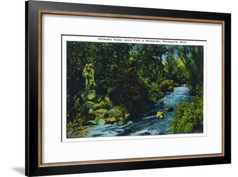Minneapolis, Minnesota - View of the Hiawatha Statue Above Falls of Minnehaha-Lantern Press-Framed Art Print