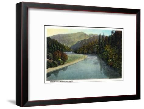 Rogue River, Oregon - River Scene Near Gold Beach-Lantern Press-Framed Art Print