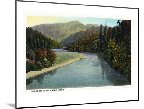 Rogue River, Oregon - River Scene Near Gold Beach-Lantern Press-Mounted Art Print